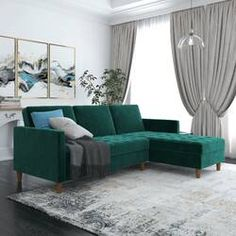 Turn on the Brights Bozeman Reversible Sleeper Sectional Upholstery Color: Velvet Green Sleeper Sectional, Chaise Sofa, Couch Sofa, Living Room Furniture, Living Room Decor, Dining Room, Velvet Room, Velvet Couch, Futon Bed
