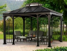 Breathtaking Patio Gazebo with Metal Roof on Very Dark Brown Spray Paint also A Set of Vintage Wood Outdoor Chairs on Top of Granite Look Concrete Floor Tiles from Backyard Patio Ideas