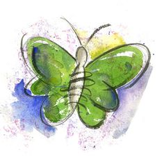 Beautiful Green Butterfly Watercolor by Andy Fling