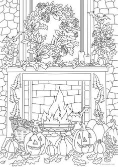 Fall Coloring Sheets, Halloween Coloring Sheets, Witch Coloring Pages, Printable Adult Coloring Pages, Coloring Books, Kids Coloring, Garden Coloring Pages, House Colouring Pages, Free Coloring