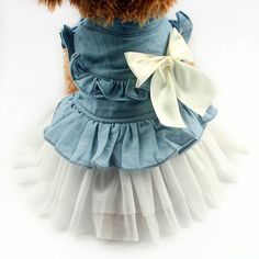 Denim duluxe! This dress is perfect for indoor play time or outdoor socialising. https://www.dressyourdoggy.com/collections/dresses/products/butterfly-bow-denim-dog-dress?variant=32436322130