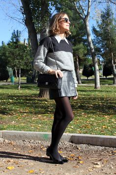Isabel Marant Etoile Sweater, Topshop Leather Skirt, Chanel Handbag, Salvatore Ferragamo Vara Flats