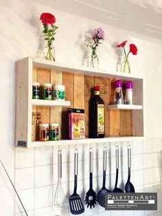 Wood pallets have always come across to be beneficial when it comes to the designing of the kitchen shelf corners. Making kitchen shelves by using the wood pallets is an awesome experience. This kitchen shelf idea is comprised with two or three shelves which can be used for placing spice bottles.