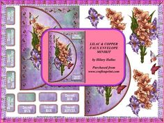 Lilac Copper Faux Envelope Minikit on Craftsuprint designed by Hilary Hallas - A 2-page minikit to make an A5 faux envelope card topper with decoupage layers and choice of sentiment tags featuring a lovely bunch of lilac and copper coloured flowers with butterflies. - Now available for download!
