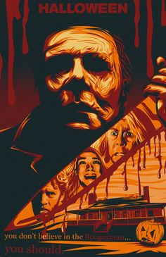 """Artists are invited to create one-of-a-kind static artwork for Universal Pictures' newest film """"Halloween"""". Best Horror Movies, Horror Films, Scary Movies, Horror Art, Halloween Poster, Halloween Movies, Halloween Art, Halloween Stuff, Horror Posters"""