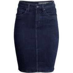 H&M Denim pencil skirt ($39) ❤ liked on Polyvore
