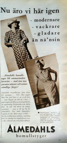 ad for new cotton fabrics from Almedahls, a Swedish cotton mill in Gothenburg. 1937