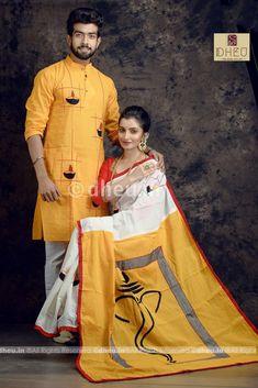 Mens Kurta Designs, Saree Blouse Designs, Matching Couple Outfits, Matching Couples, Saree Painting Designs, Sari Design, Frock Design, Boys Kurta Design, Set Saree