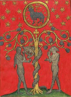 """medieval: """" The Temptation of Adam and Eve. Harley 2278 f. Medieval Manuscript, Medieval Art, Illuminated Letters, Illuminated Manuscript, Adam Et Eve, Rome Antique, Book Of Kells, Book Of Hours, Illustration"""