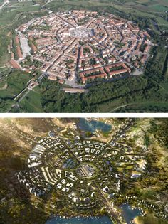 Palmanova is one of the few ideal city layouts that was actually realized. From the air its formal, symmetrical layout is strikingly similar in its overall gestalt to a rendering of a generic version of one of Kasarda's Aerotropoli: Although on a vastly bigger scale, the overall circular form, the street system, the center piece (here airport instead of city square) and the differentiation into different living and working quarters bear a striking formal and functional resemblance to…