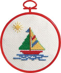 Discover thousands of images about Sailboat Counted Cross Stitch Kit Round 14 Count This Pin was discovered by sen Sewing Patterns Cross Stitch and More - Huge Selection of Sewing Patterns Puzzles Small Cross Stitch, Cross Stitch For Kids, Cross Stitch Cards, Counted Cross Stitch Kits, Learn Embroidery, Cross Stitch Embroidery, Embroidery Patterns, Baby Cross Stitch Patterns, Cross Stitch Designs