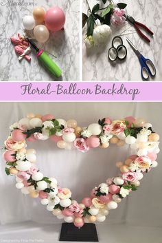 Learn how to make this darling floral-balloon backdrop to use in your backyard wedding! Balloon Lanterns, Balloon Backdrop, Balloon Arrangements, Floral Arrangements, Diy Wedding Photo Booth, Wedding Bands, Wedding Flowers, Balloon Wedding, Silk Peonies