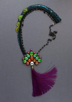 Rosary necklace  Mexican folk art jewelry  Skull by tanukdolotova