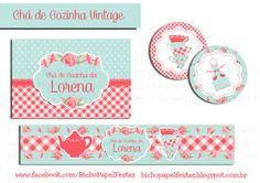 kit chá de cozinha vintage azul e vermelho