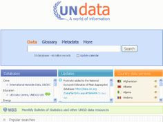 Databáze OSN - 60 milionů záznamů - jsou zde uložena data o demografii, průmyslu, zdraví, obchodu, turismu a dalších oblastí společnosti shromážděná z desítek zdrojů. Najdete zde také podrobné statistiky týkající se jednotlivých zemí, členěná na měsíce, čtvrtletí a roky. Tourism