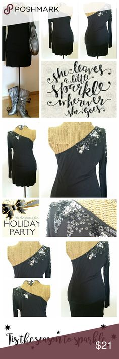 "🎀XXI one shoulder sequin tunic shirt top M Fun shirt to wear to your holiday party Pair with leggings gs,and boots for a hot look Boots and purse in pic ate for sale as well One shoulder is full of sequins Sz M Underarm to underarm 16"" unstretched. ..stretchy Top of shoulder to hem 29"" XXI Tops Tunics"