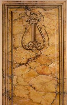 Marc Potocsky Faux Yellow sienna marble and trompe l'oeil molding and harp ornament CT NY