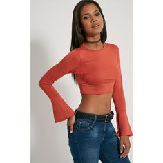 Rust Bell Sleeve Crop Top ($6.71) ❤ liked on Polyvore featuring tops, orange, rust top, flared sleeve crop top, crop top, bell sleeve crop top and boho chic tops