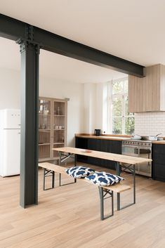 The Clerkenwell Apartment features the Sebastian Cox Kitchen range by deVOL. The industrial style open space contains the understated, handmade kitchen that deVOL founder Paul O'Leary describes as Steel Columns, Steel Beams, Küchen Design, House Design, Interior Design, Metal Beam, Casa Loft, Modern Modular Homes, Steel Frame House