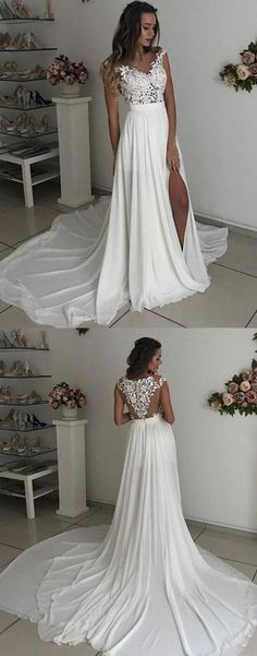 Ivory Prom Dress,Lace Long Prom Dress,Lace Evening Dress,A-Line Prom Dress,Split Formal Dress