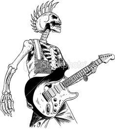 Vector illustration of a punk skeleton playing guitar Skeleton Tattoos, Skeleton Art, Arte Punk, Punk Art, Guitar Drawing, Guitar Art, Graffiti, Arte Horror, Art Drawings Sketches