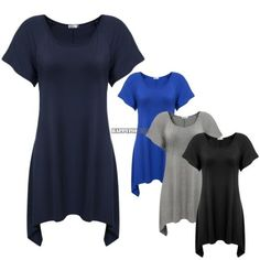 Basic fashion lady women short sleeve irregular loose long tops t-shirt tee | eBay