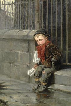 Ralph Hedley (British, 1848-1913) The paper boy
