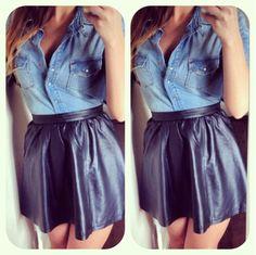 Leather skater skirt & denim shirt
