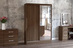 BIRLEA LYNX 2 DOOR SLIDING ROBE WITH MIRROR, WALNUT