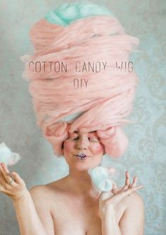 """Want to learn how to make a wig that looks good enough to eat? Here's how: Wig Ingredients: Styrofoam Head (to work on your wig) Poly-Fil batting (crib size 45"""" x 60"""" roll) Roving Wool in your choice of color (I chose light pink and light blue for cotton candy colors) or"""