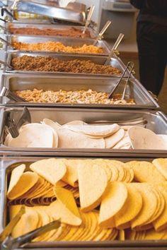 Taco Bar Wedding, Diy Wedding Buffet, Diy Wedding Food, Wedding Catering, Wedding Foods, Wedding Ideas, Wedding Buffets, Wedding Menu, Wedding Appetizer Bar