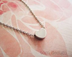 SALE Tiny Silver Heart Necklace  Custom Personalized by TomDesign, $14.40