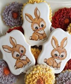 Cookies For Kids, Fancy Cookies, Cute Cookies, Easter Cookies, Cupcake Cookies, Sugar Cookies, Marshmallow Flowers, Easter Biscuits, Desserts With Biscuits