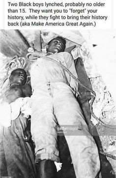 The dead bodies of two fourteen-year-old lynching victims, Charles Lang and Ernest Green, lie on the ground with ropes still tied around their necks. Only in United States of Babylon the Great.