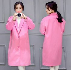 Fashion Winter Korean Girl Woolen Long Trench Coat Jacket  Parka Slim A+++