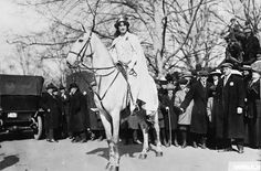 Lawyer Inez Milholland Boissevain prepares to lead the Suffrage Parade, on March 3, 1913