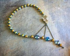 Teal, Gold, and Marine Blue Metallic Adrienne Adelle Signature Necklace with Bronze Leaf Clasp - Hematite Beads