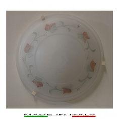 """EDERA BICOLORE 40 - Plafoniera con struttura in metallo e vetro, rifinita con disegno """"EDERA"""", ganci di tenuta in abs color bianco."""