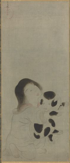 From Smithsonian Freer and Sackler Galleries, Japanese, Edo period, A Child Holding a Spotted Puppy Ink and tint on paper, × cm Freer Gallery, Asian Flowers, Edo Period, China Painting, Japanese Artists, Asian Art, Art Images, Artsy, Puppies
