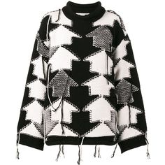 Stella McCartney Check Volume jumper (1 684 880 LBP) ❤ liked on Polyvore featuring tops, sweaters, black, jumpers sweaters, roll top, thick knit sweater, ribbed top and ribbed long sleeve top