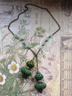 Jade wrap necklace with ornamental filagree beads by TLCadornments