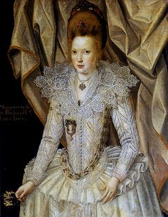 Margaret (nee Dodworth), Baroness Lovelace of Hurley, 2nd wife of Richard, 1st Baron Lovelace.  Mother of nine.  Portrait by John de Critz the Elder. Ancestress of Lord Byron's wife, hence his daughter Ada, whose husband was made Earl Lovelace.