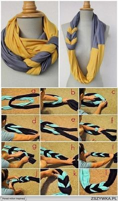 Easily make a new scarf from two contrasting old ones or two pieces of fabric! Will you try?