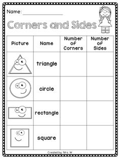 Worksheets Two Dimensional Shapes Worksheets downloadable geometry worksheets for 1st graders 2d shapes corners and sides