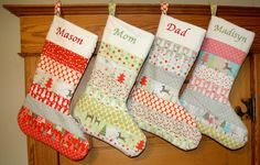 I want these! Set of 4 Personalized Patchwork Stockings  Discount by stitchery33, $154.00