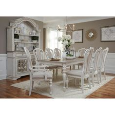 Magnolia Manor 44 x 108 Rectangular Table 7 Piece Dining Set in Antique White Finish by Liberty Furniture - Dining Set - Ideas of Dining - Shabby Chic Dining Room, Dining Room Sets, Dining Room Design, Shabby Chic Furniture, Dining Room Furniture, Dining Room Table, Furniture Stores, Cheap Furniture, Furniture Nyc