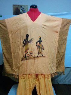 SALE! BUY IT NOW! One Size Pant Set Fringe Caftan Tunic Matching Drawstring Pants Rayon Batwing  | eBay