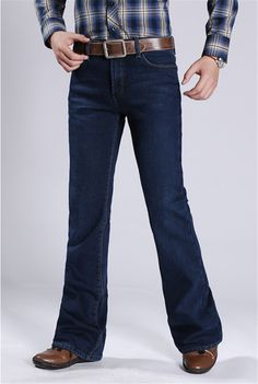 54.28$  Buy here - http://ali260.worldwells.pw/go.php?t=32611411318 - 2015 New Men's Winter Plus Velvet Thickening Boot Cut Jeans Male Mid Waist Jeans Business casual flares Trousers 26-34