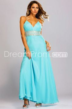Light Blue V Neck A Line Chiffon Evening Dresses