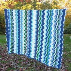 Vintage crochet chevron or zigzag blanket afghan throw in blue turquoise green off white by indiecreativ, $49.00